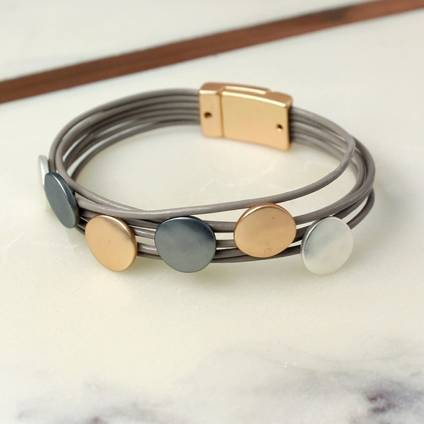 Taupe leather layered bracelet with mixed metallic discs | Image 1
