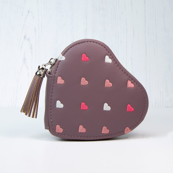 Mulberry heart shaped purse with embroidery and tassel | Image 1