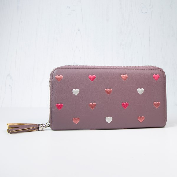Mulberry faux leather purse with embroidered hearts | Image 1