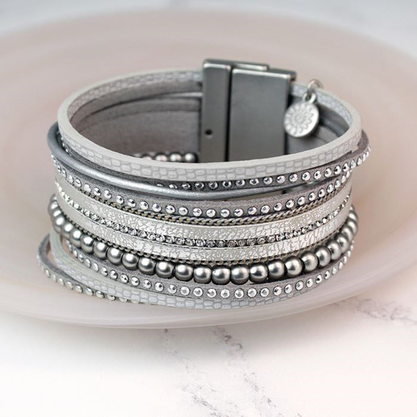 Metallic grey leather bracelet with crystals and silver beads | Image 1