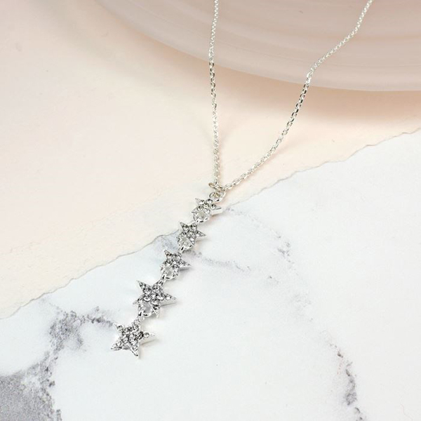 Silver plated multi star drop necklace with crystals | Image 1
