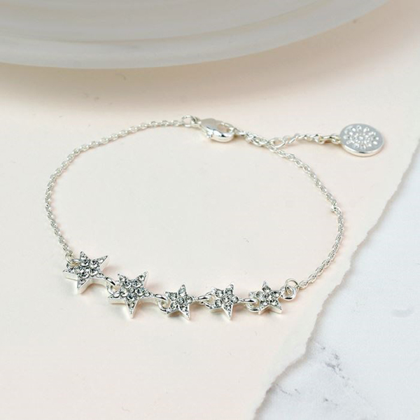 Silver plated mutli star bracelet with clear crystals | Image 1