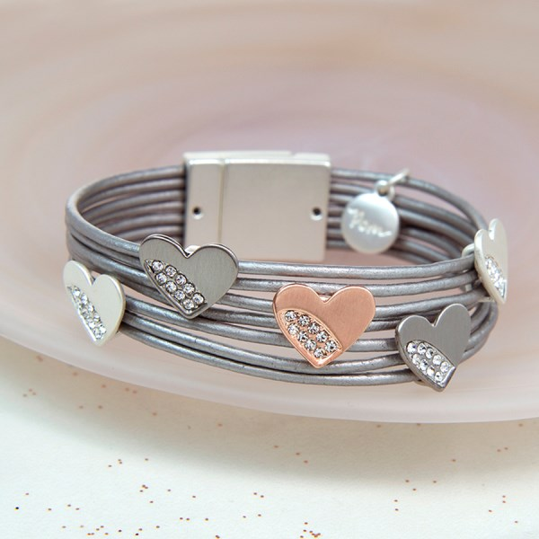 Multi strand grey leather bracelet with mixed crystal hearts | Image 1
