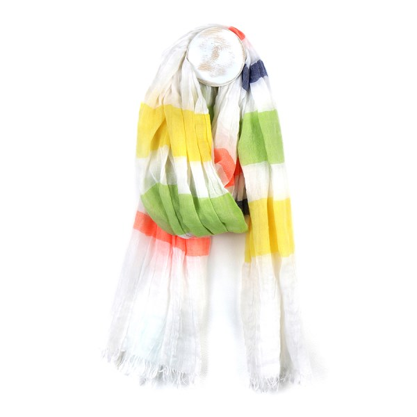 Fine white scarf with vibrant multicolour stripe print | Image 1