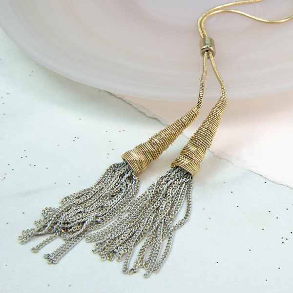 Long golden necklace with grey chain tassels | Image 1