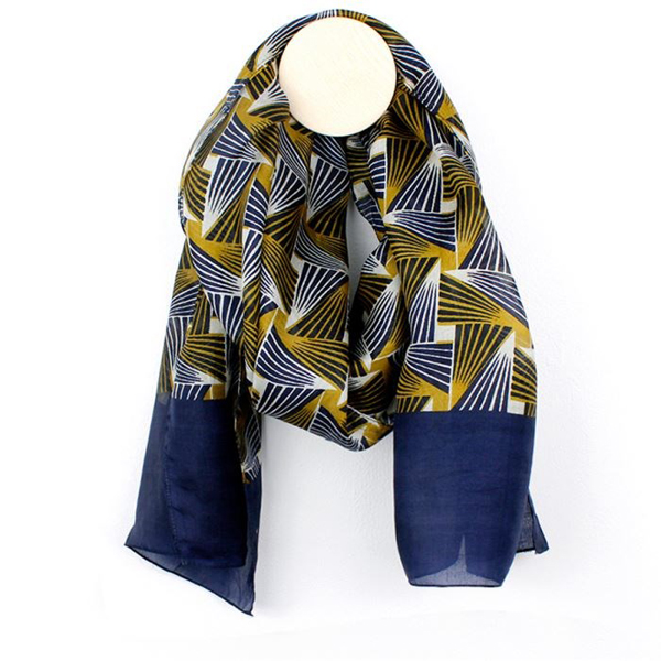 Hand printed navy and mustard geo triangle silk scarf | Image 1