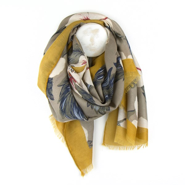 Taupe and navy floral print scarf with mustard border | Image 1