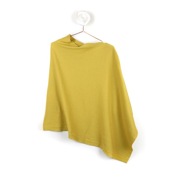 Cotton summer poncho in mustard yellow | Image 1