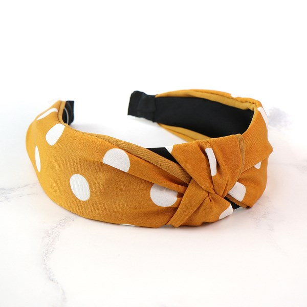 Mustard fabric covered headband with white polkadots | Image 1