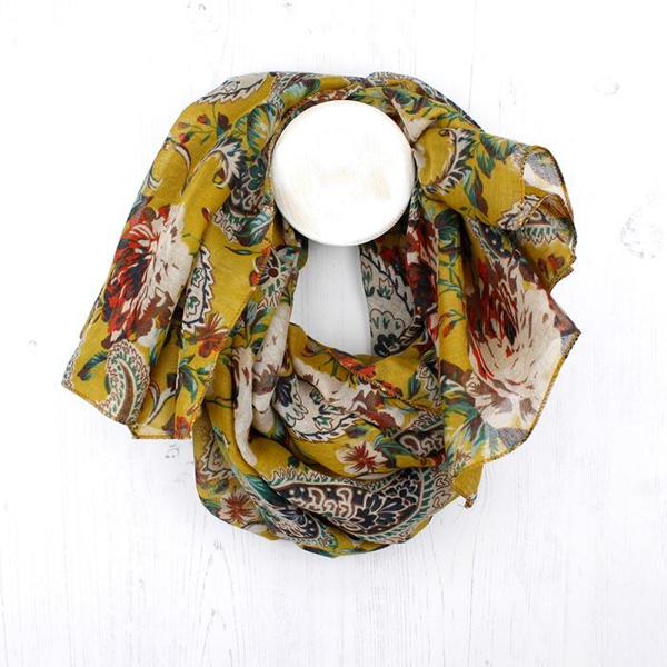 Mustard, red and green floral paisley print scarf | Image 1