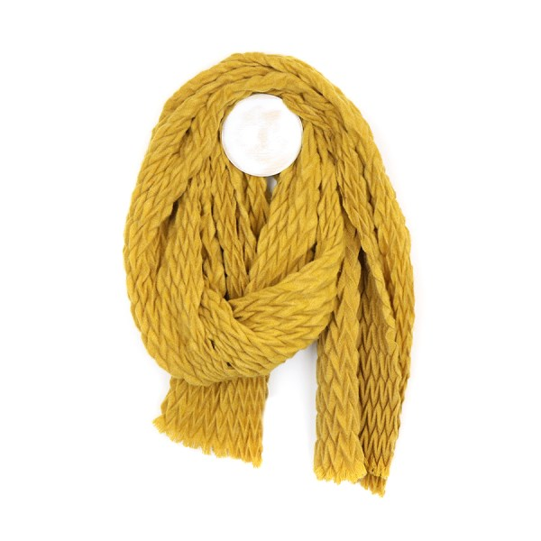 Mustard yellow soft scarf with zig-zag pleated texture | Image 1