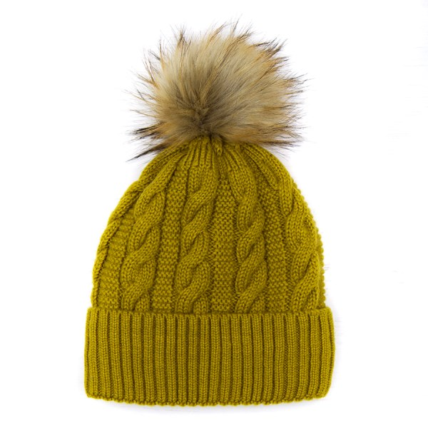 Wool rich hat in mustard yellow with faux fur bobble | Image 1