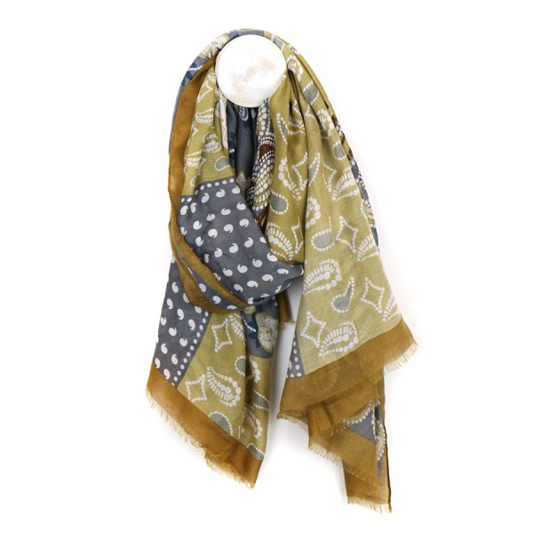 Mustard yellow and grey mix paisley print scarf | Image 1