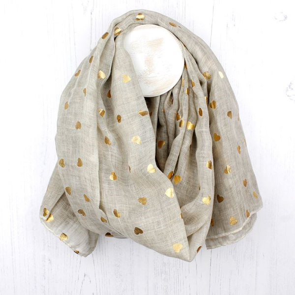 Washed natural scarf with metallic gold heart print | Image 1