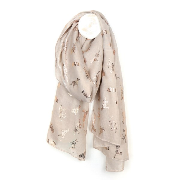 Natural scarf with metallic rose gold cat print | Image 1