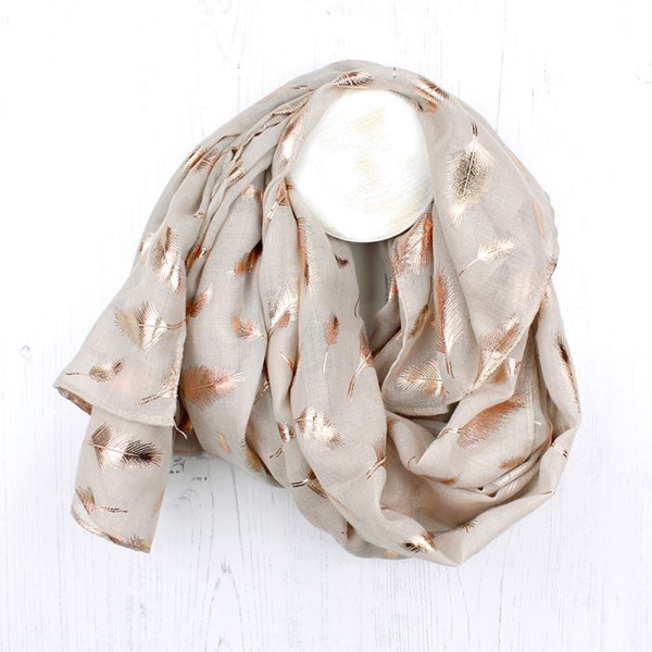 Natural scarf with metallic rose gold feather print | Image 1