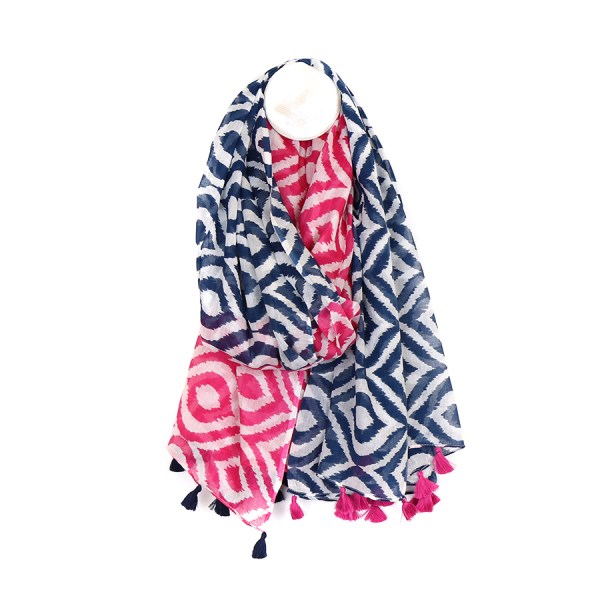 Cotton scarf with pink and navy ikat diamond print | Image 1