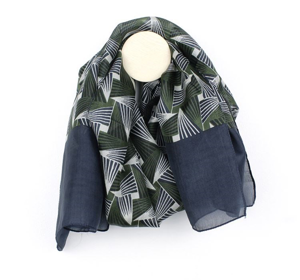Hand printed blue and olive geo triangle silk scarf | Image 1
