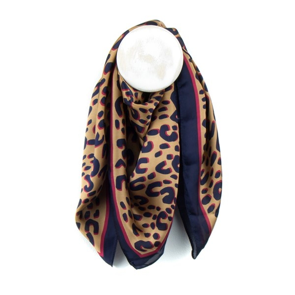 Navy and rich pink silky animal print scarf | Image 1