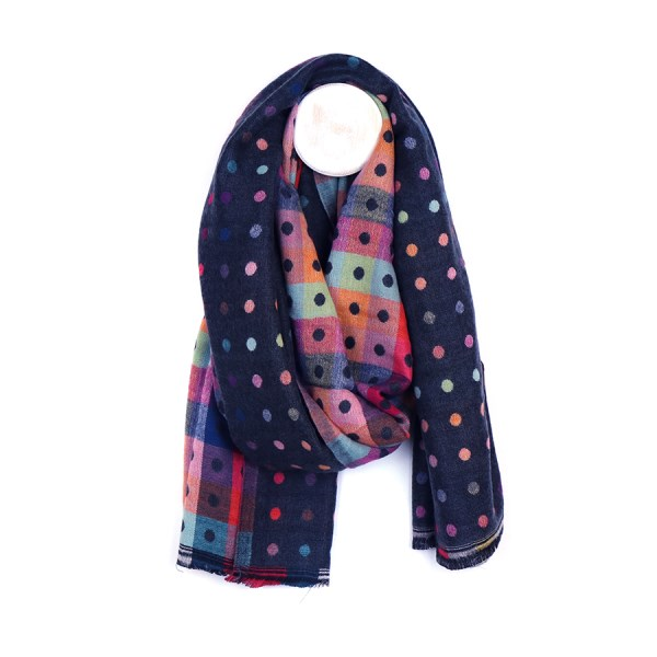 Navy multicoloured reversible jacquard dotty scarf | Image 1