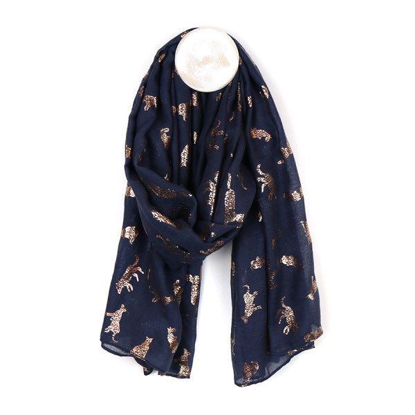 Navy blue scarf with metallic rose gold cat print | Image 1