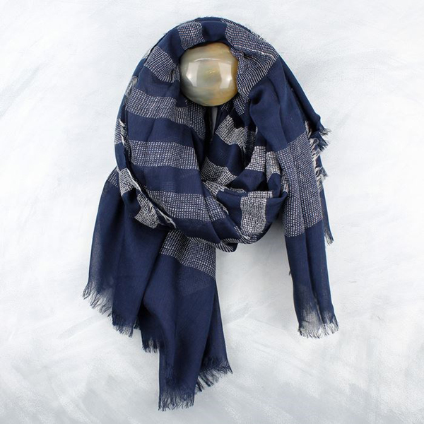 Navy scarf with pale grey stitched stripes | Image 1