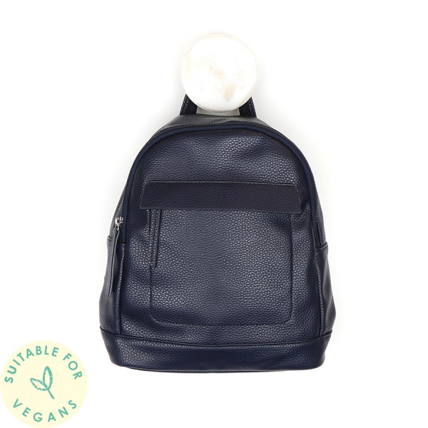 Vegan Leather compact backpack in navy blue | Image 1