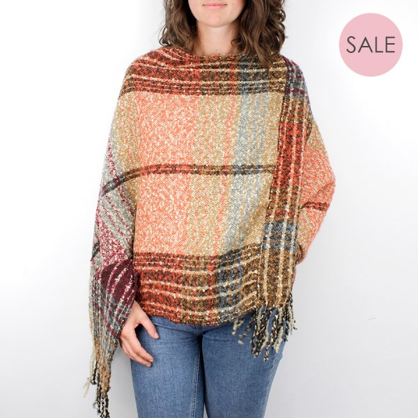 Ochre mix check knit poncho with tassel edge | Image 1