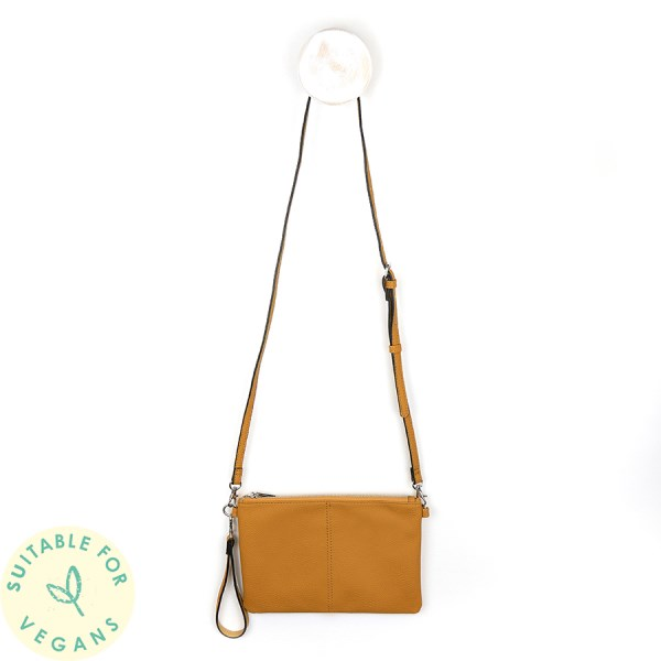 Vegan leather convertible clutch bag in deep ochre | Image 1