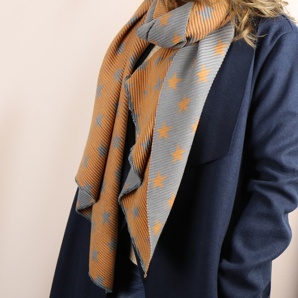 Orange and grey reversible pleated star scarf | Image 1