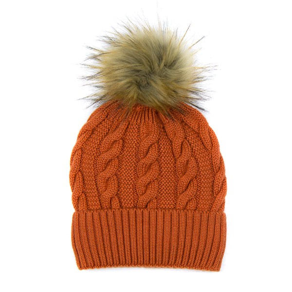 Wool rich hat in burnt orange with faux fur bobble | Image 1