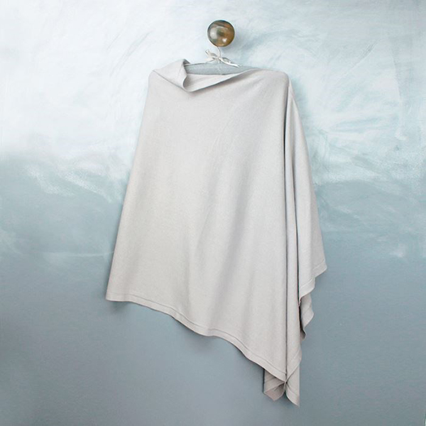 Fine knit cotton poncho in pale silver-grey | Image 1