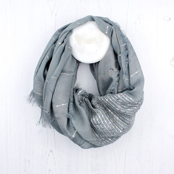 Pale grey scarf with silver thread and sequins | Image 1