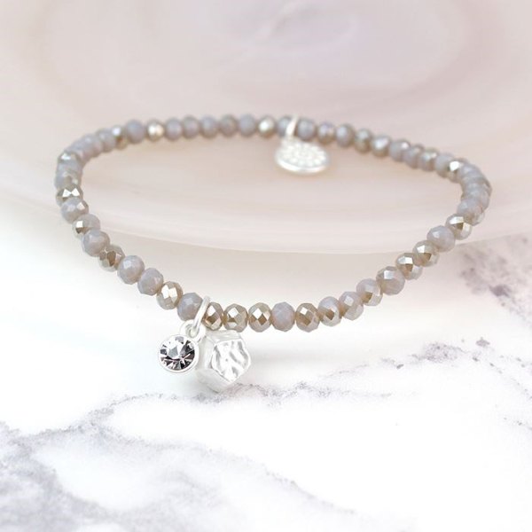 Pale grey bead bracelet with silver charm and crystal | Image 1