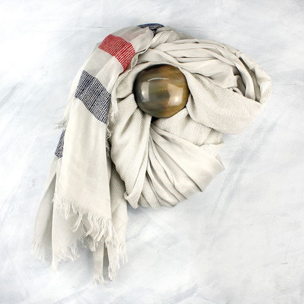 Pale grey scarf with blue and red stitched stripes | Image 1