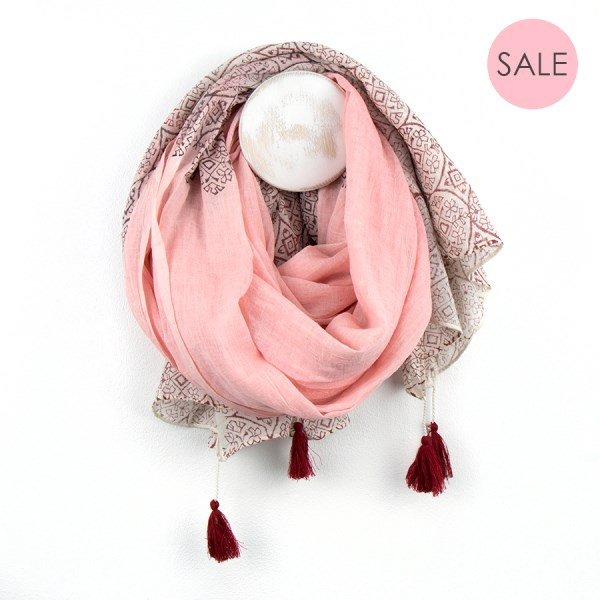 Peach cotton scarf with burgundy block print and tassels | Image 1