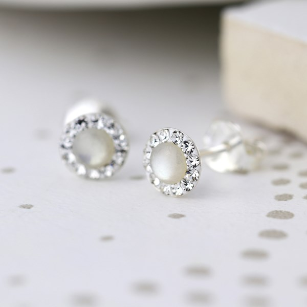 Sterling silver round crystal earrings with pearl centre | Image 1