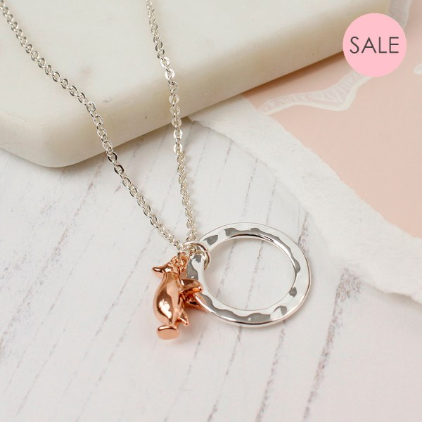 Silver plated hoop and rose gold penguin necklace | Image 1