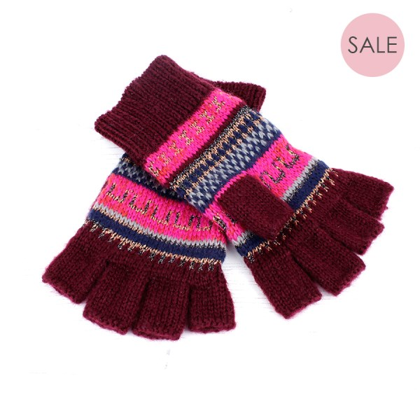 Fair Isle knit fingerless gloves in vibrant pink | Image 1