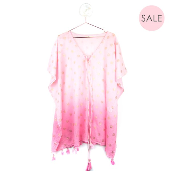Pink ombre cotton kaftan with metallic gold spots | Image 1