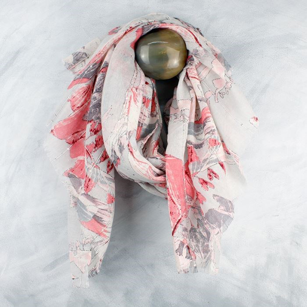 White scarf with coral pink floral print and sequins | Image 1