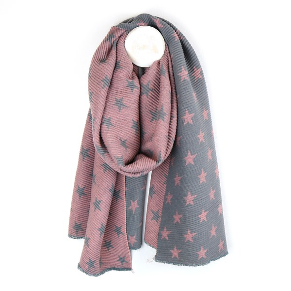 Pink and grey reversible pleated star scarf | Image 1