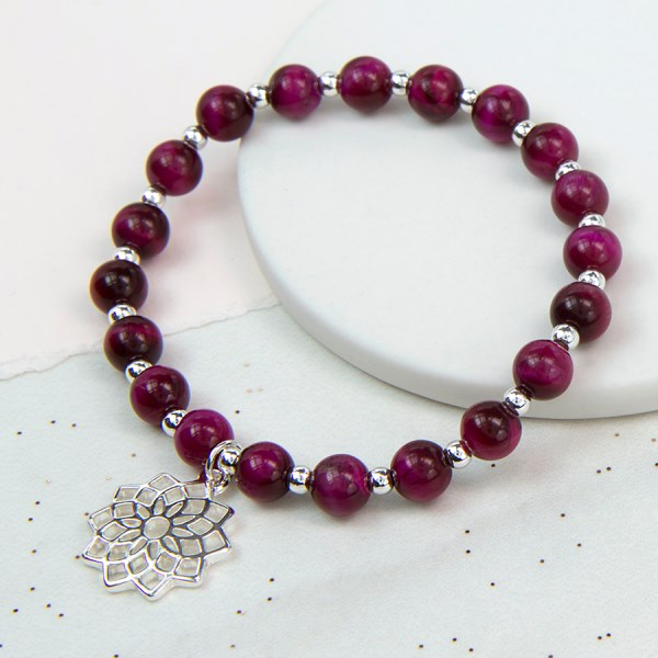 Pink Tigers Eye bracelet with silver plated mandala | Image 1