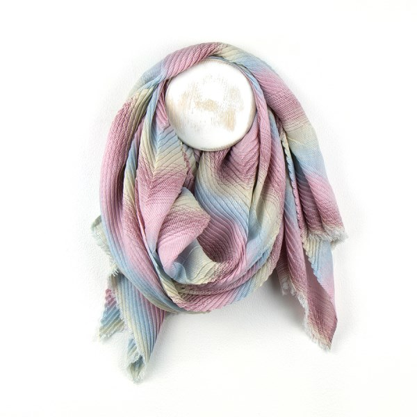 Pastel pink scarf with stripes and chevron pleated texture | Image 1