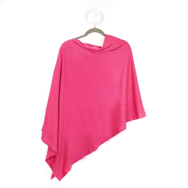 Fine knit cotton poncho in rich pink | Image 1