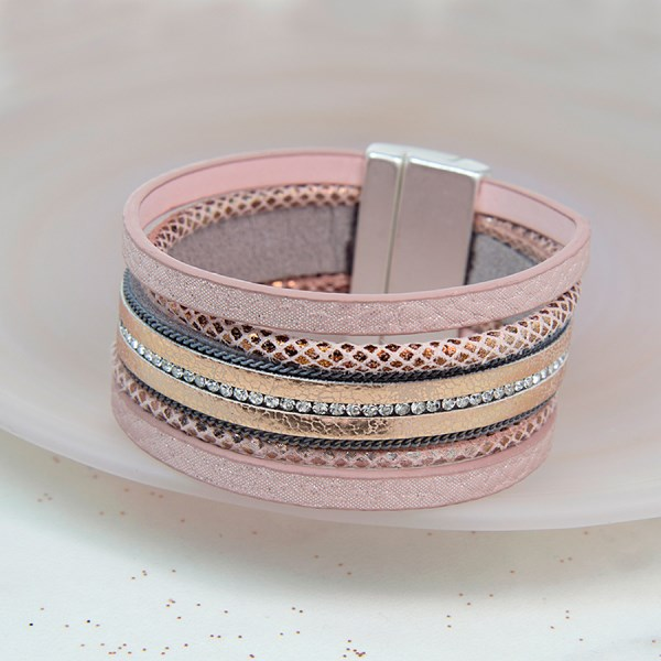 Multi strand pink leather and clear crystal bracelet | Image 1