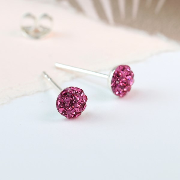 Sterling silver pink crystal shamballa earrings | Image 1