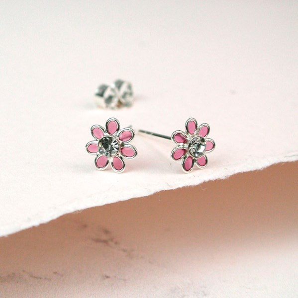 Sterling silver and pink enamel daisy crystal earrings | Image 1