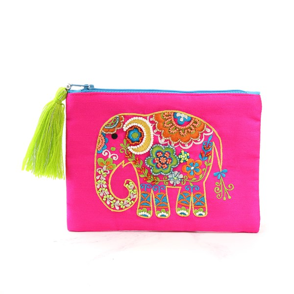 Pink purse with embellished elephant and tassel zip | Image 1