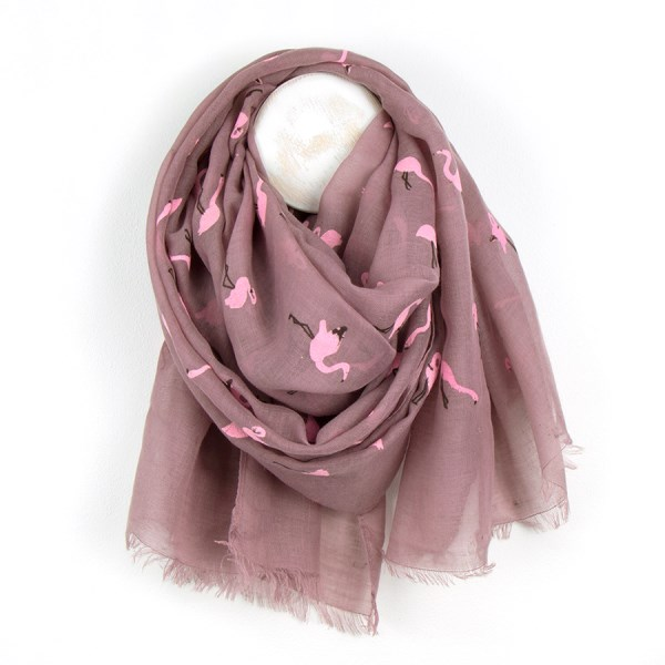 Dark pink scarf with pretty pink flock flamingo print | Image 1